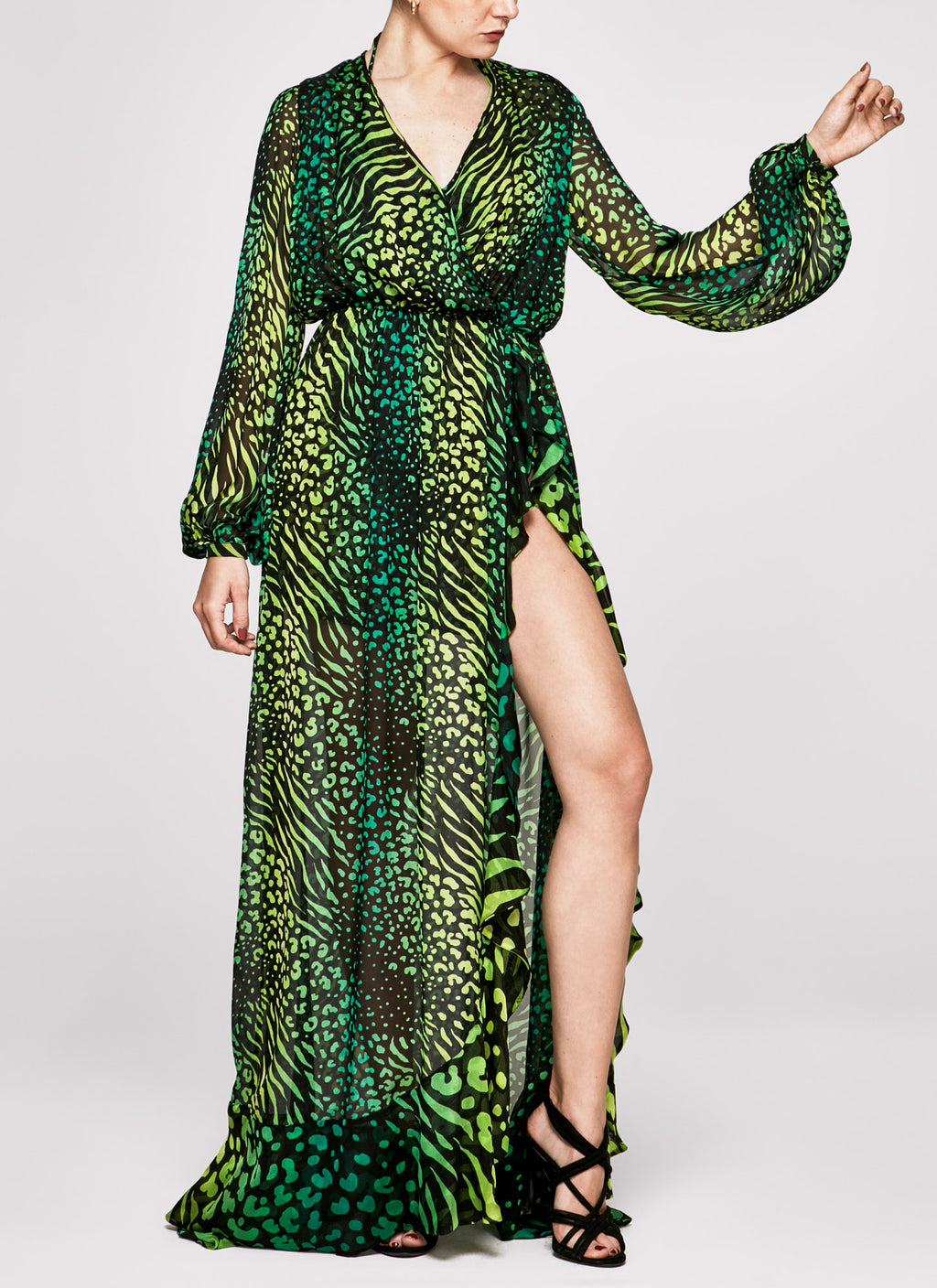 PALM LEOPARD Ruffle Gown