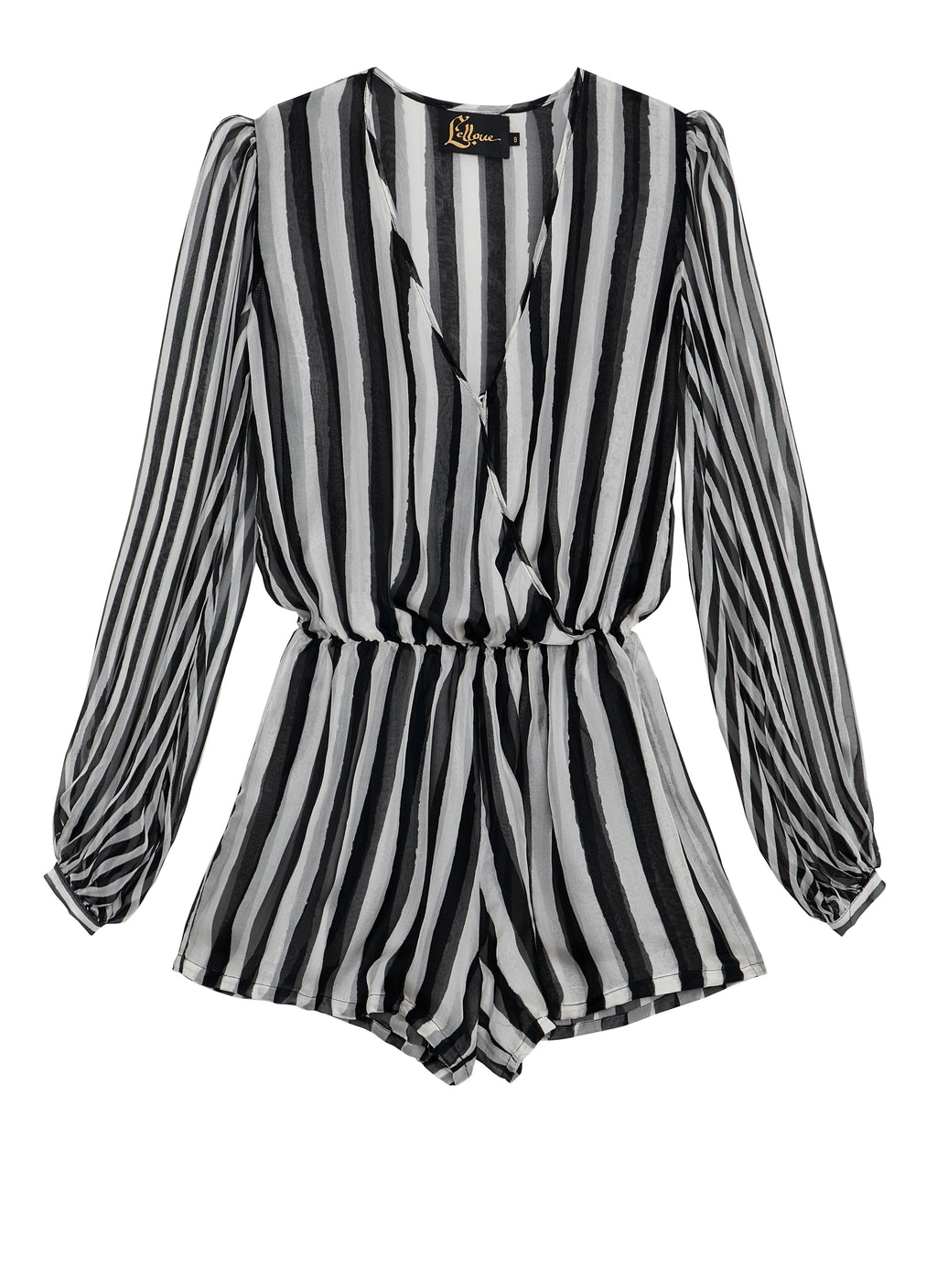 BW STRIPES Puff Sleeve Playsuit