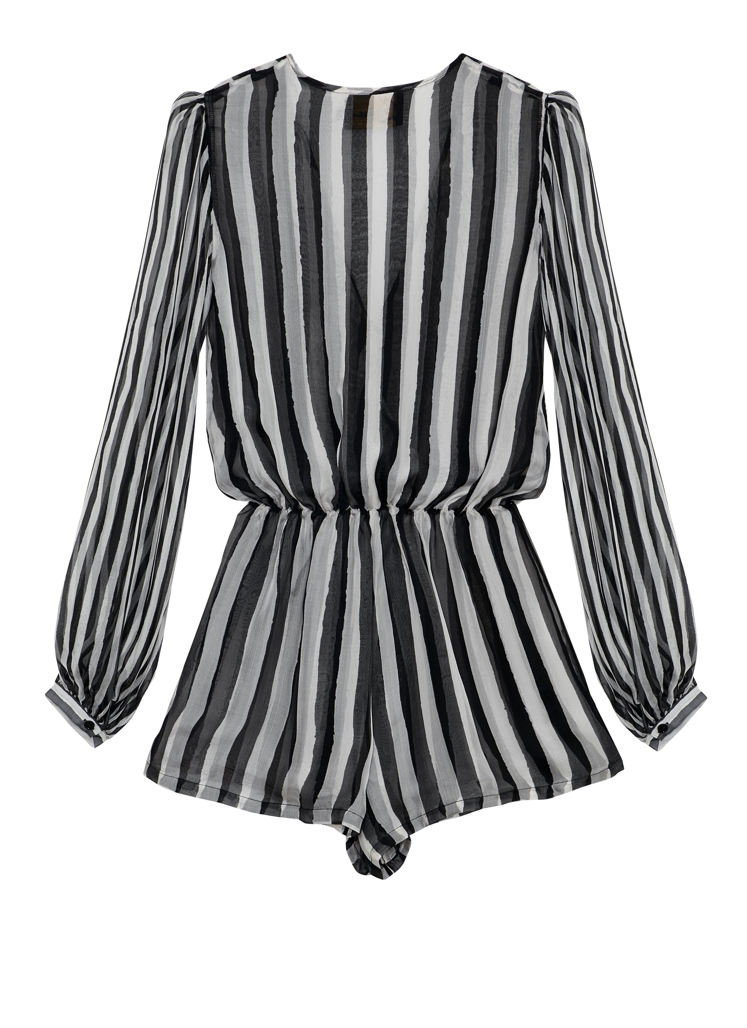 Black & White Stripes Puff Sleeve Playsuit