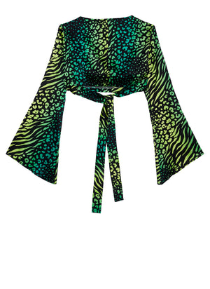 Palm Leopard Wrap Top