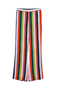 Candy Stripe Silk Satin Flared Trousers