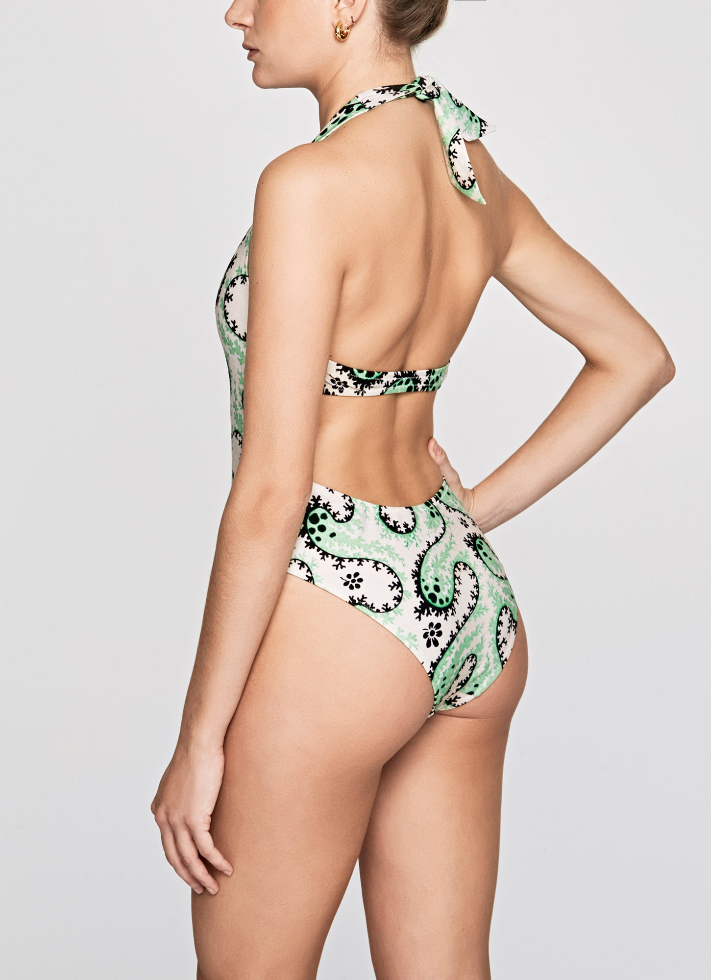 Mint Coral Halter Neck Printed Swimsuit