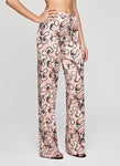 Blush Coral Silk Satin Printed Beach Flares