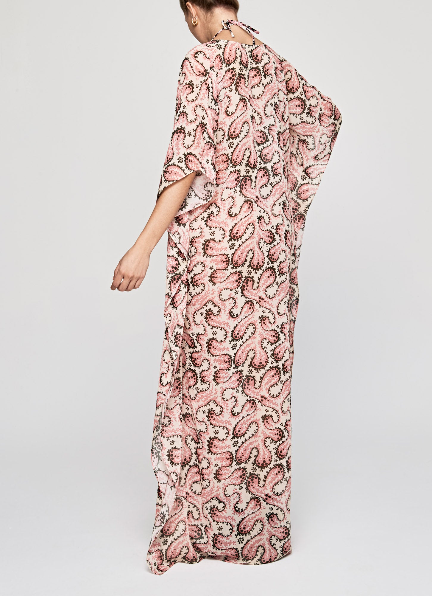Blush Coral Silk Chiffon Long Kaftan