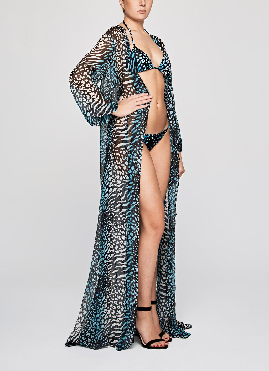 BLUE LEOPARD Flared Sleeve Kaftan