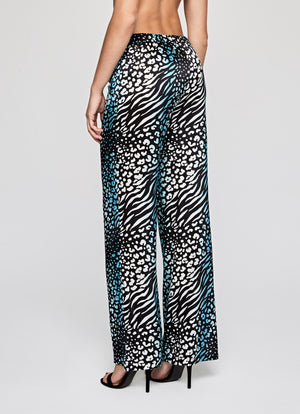Blue Leopard Silk Satin Printed Beach Flares