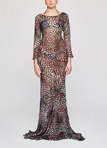 Pink Leopard Silk Chiffon Drop to the Floor Dress