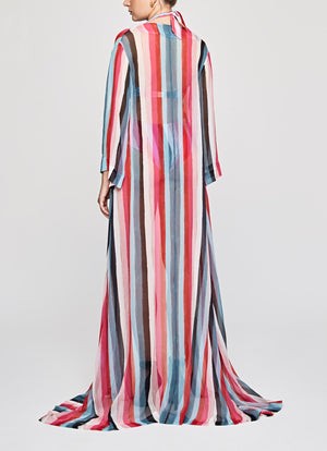 Extra Stripes Silk Chiffon Long A-line Kaftan