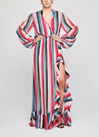 EXTRA STRIPES Ruffle Gown