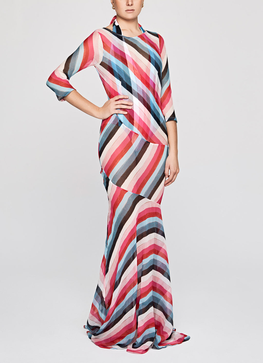 Extra Stripes Silk Chiffon Drop to the Floor Dress