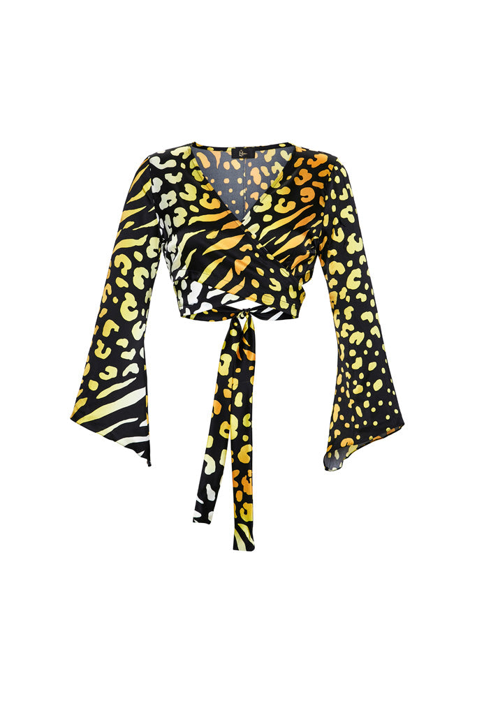 Leopard Print Stretch Silk Wrap Top