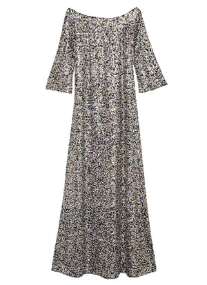 Sequin off-the-Shoulders Floor Length Dress