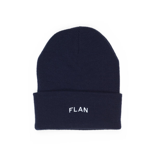 FLAN Wordmark & Patch Beanie - Navy