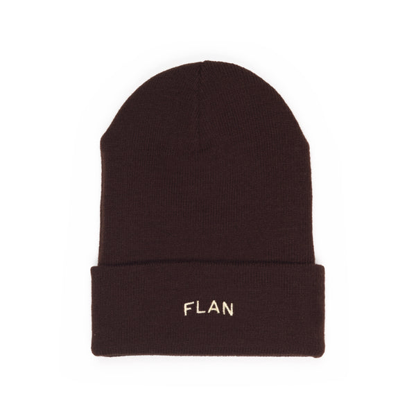 FLAN Wordmark & Patch Beanie - Brown