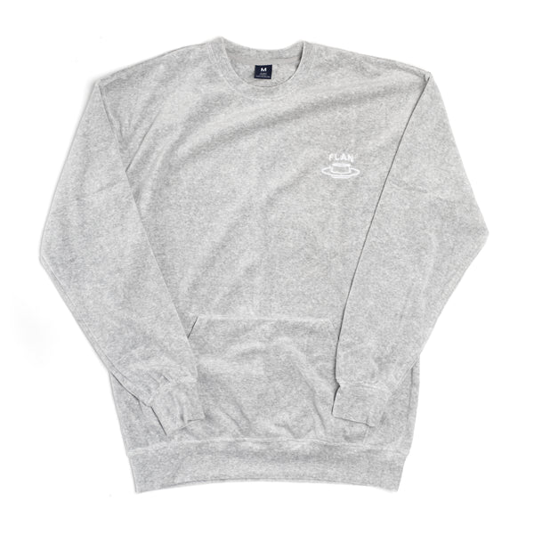 FLAN Velour Crewneck - Heather Grey