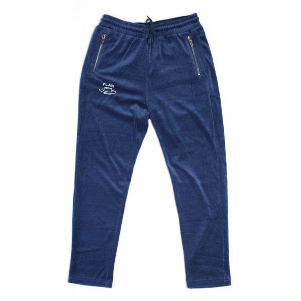 FLAN Velour Pants - Light Navy