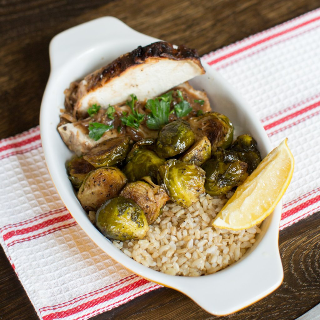 Balsamic Roasted Pork Tenderloin and Brussels Sprouts (LC)