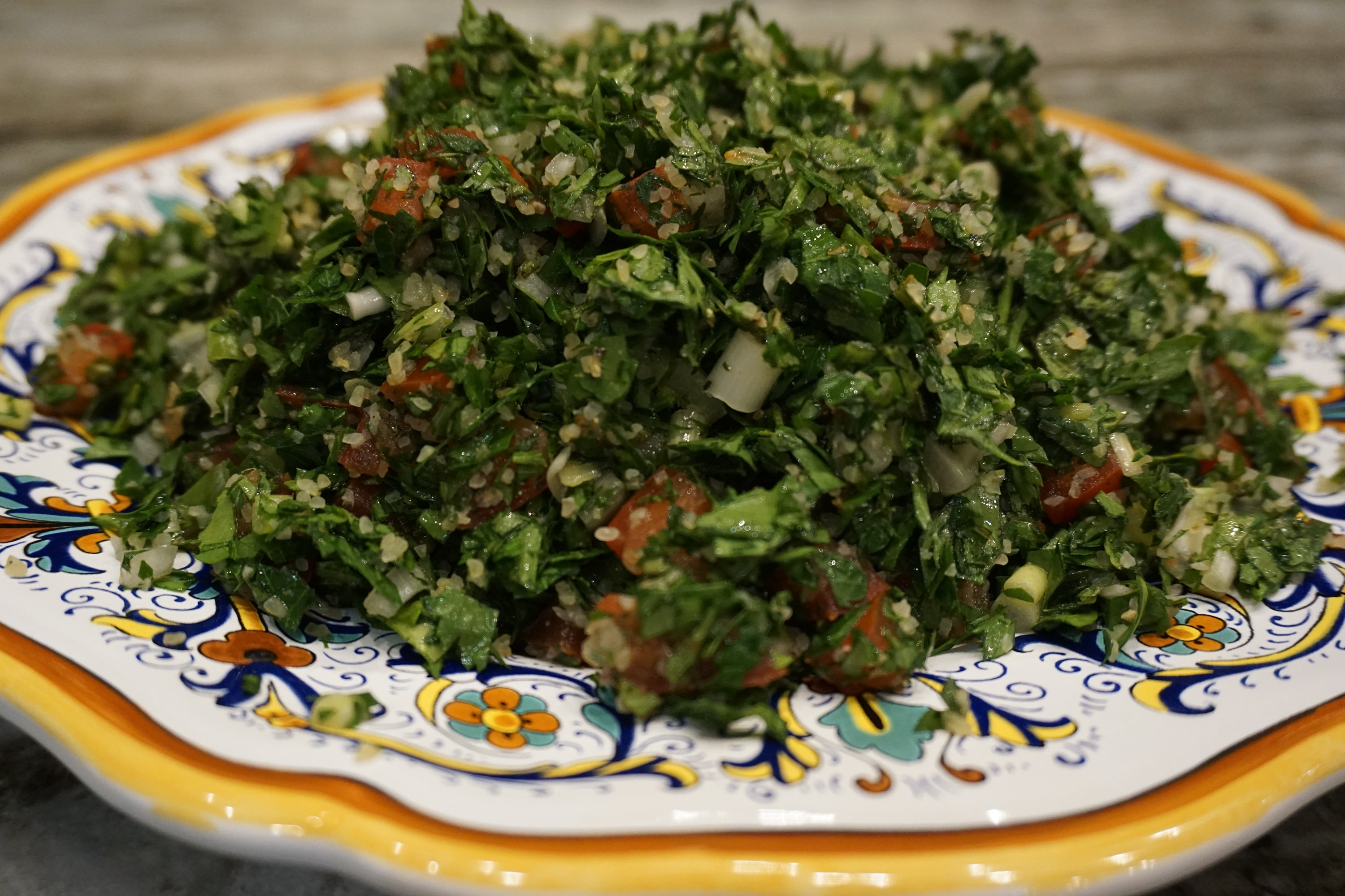 Lebanese Tabbuli:  Parsley Salad with Wheat