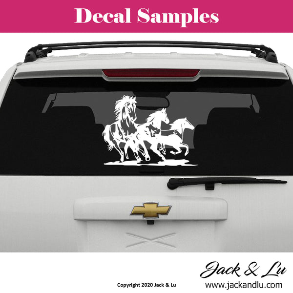 Three Wild Horses Vinyl Adhesive Decal - Jack and Lu