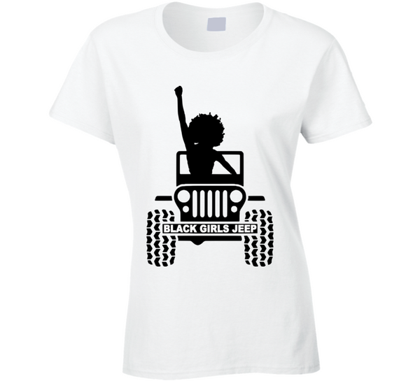 White ( Black Girls Jeep Logo #1 ) T Shirt