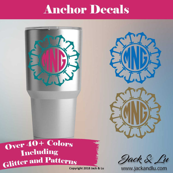 Anchor Three Letter Monogram Decal - Style No. 2 - Jack and Lu