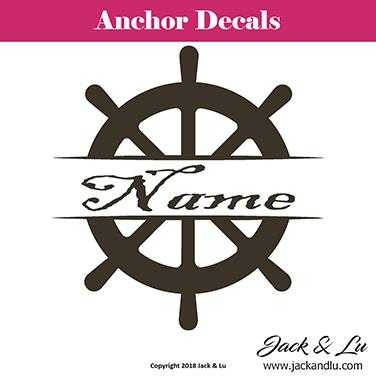 Anchor Name Ship Wheel Decal - Style No. 9 - Jack and Lu
