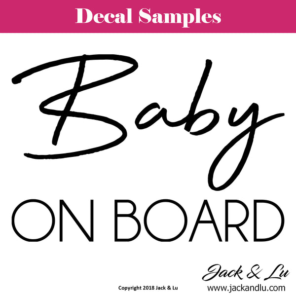 Baby On Board Vinyl Die Cut Decal