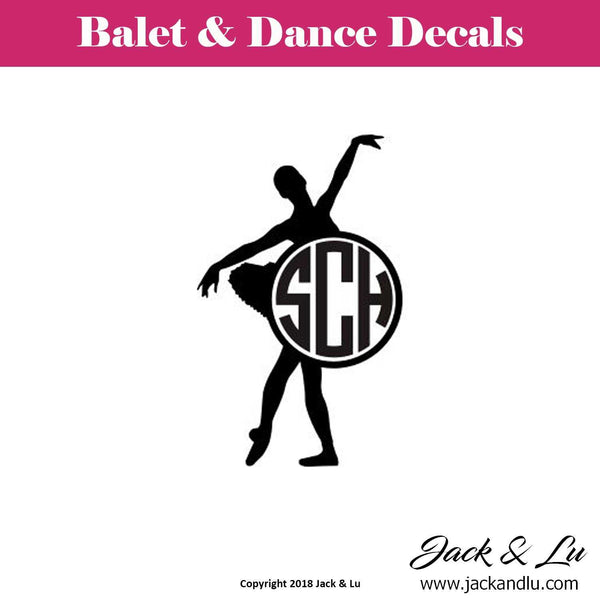 Custom Personalized Ballet and Dance Monogram Decal - Style No. 2 - Jack and Lu