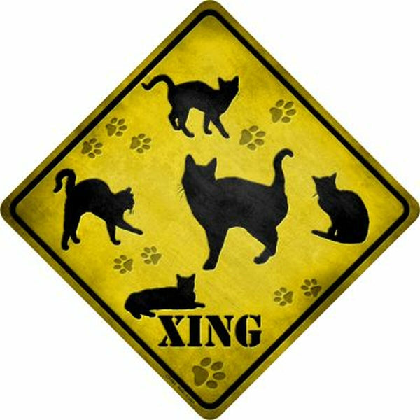 Cats Xing Metal Novelty Crossing Sign