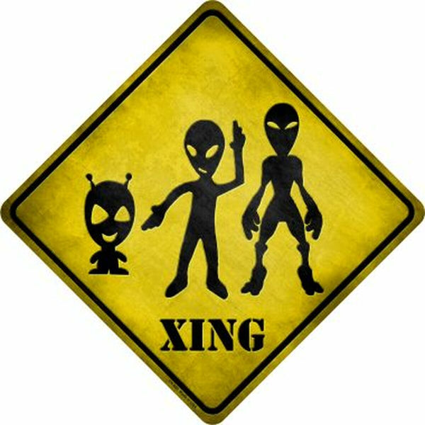 Aliens Xing Metal Novelty Crossing Sign