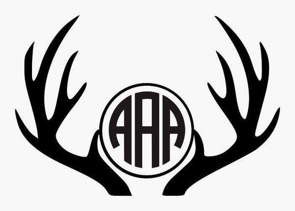 Hunting Decal - Deer Antler Thee Letter Monogram Decal - Jack and Lu