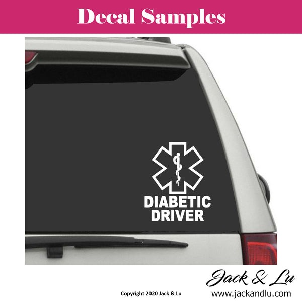 Diabetic Driver Vinyl Adhesive Decal - Jack and Lu