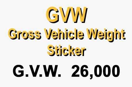 GVW - Gross Vehicle Weight Decal Sticker - Jack and Lu