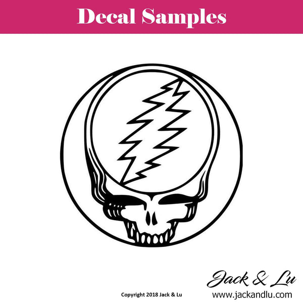 Grateful Dead - Skull with Lightning Bolt Vinyl Die Cut Decal - Jack and Lu