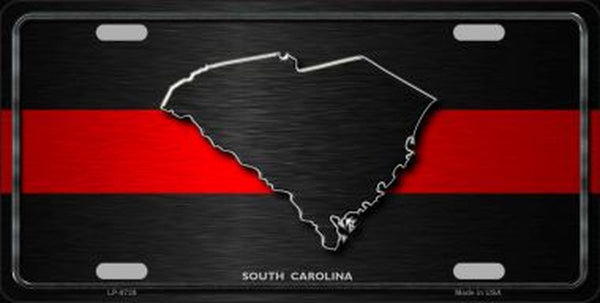 South Carolina Thin Red Line Metal Novelty License Plate Tag - Jack and Lu