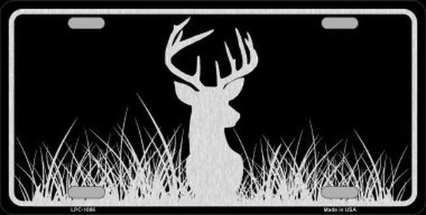 Deer Head Brushed Chrome Novelty Metal License Plate - Jack and Lu