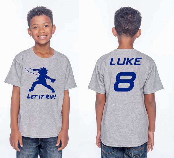 Let It Rip! BeyBlade Youth Front & Back Birthday T-Shirt - Jack and Lu