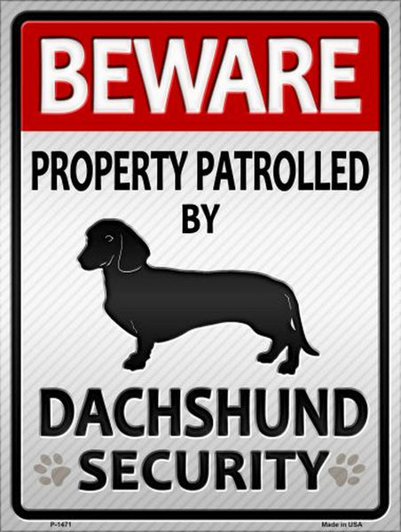 Dachshund Security Metal Novelty Parking Sign