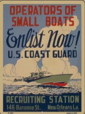 Enlist Now Coast Guard Vintage Poster Wholesale Parking Sign - Jack and Lu