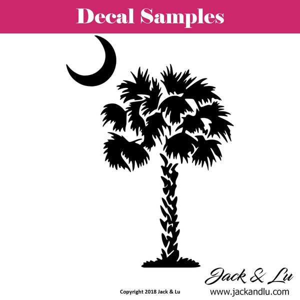 Palmetto Tree Decal with Crescent Moon Decal - South Carolina SC State - Jack and Lu