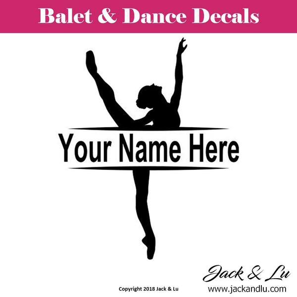 Custom Personalized Ballet and Dance Name Decal - Style No. 10 - Jack and Lu
