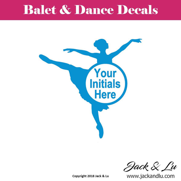 Custom Personalized Ballet and Dance Monogram Decal - Style No. 1 - Jack and Lu