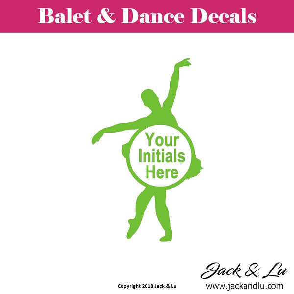 Custom Personalized Ballet and Dance Monogram Decal - Style No. 3 - Jack and Lu