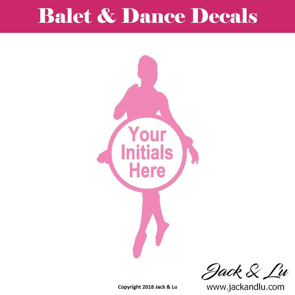 Custom Personalized Ballet and Dance Monogram Decal - Style No. 4 - Jack and Lu