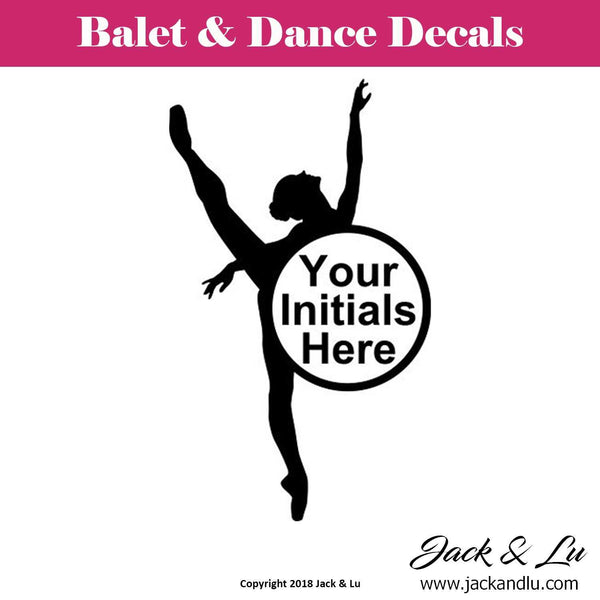 Custom Personalized Ballet and Dance Monogram Decal - Style No. 5 - Jack and Lu