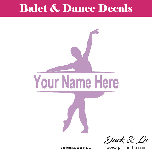 Custom Personalized Ballet and Dance Name Decal - Style No. 8 - Jack and Lu
