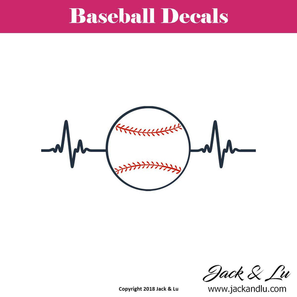 Baseball Heartbeat Decal - Jack and Lu