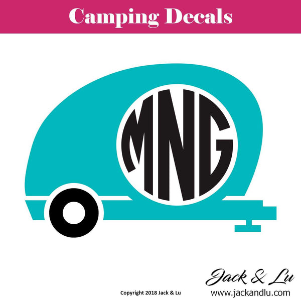 Camping Decal - Three Letter Camping Monogram Decal - Jack and Lu