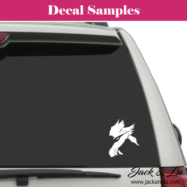 Flying Duck with Hunter Silhouette Vinyl Adhesive Decal - Jack and Lu