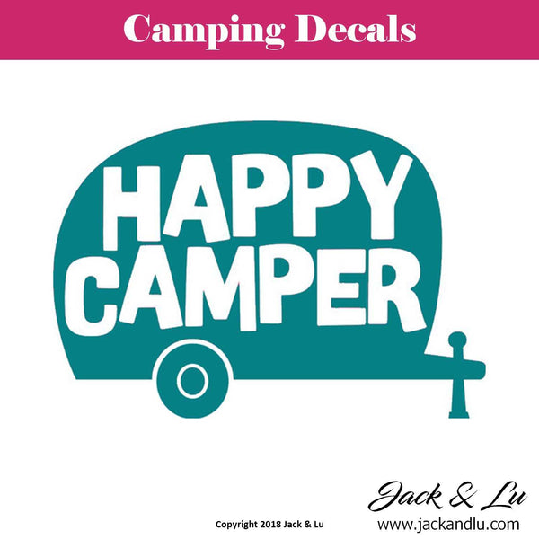 Camping Decal - Retro Happy Camper Decal - Jack and Lu
